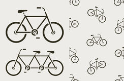 Vector image of silhouette bicycles on white background Stock Photos