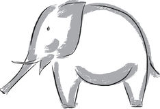 Drawn elephant. Vector image of a silhouette of an elefant stock illustration