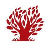 Vector image of single branchy tree, nature concept. Art symboli Stock Image