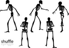 Vector Image - skeleton silhouette in shuffle pose  on white background Stock Photography