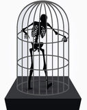 Vector Image - skeleton silhouette in standing in cage pose  on white background Stock Photos