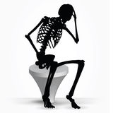 Vector Image - skeleton silhouette in thinking pose  on white background Stock Photography