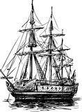 Ancient sailboat. Vector image of a sketch of an ancient sailing vessel on the mooring stock illustration