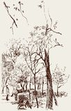 City Park. Vector image of a sketch of old city park royalty free illustration