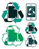 Vector image of smart phones with recycling signs Stock Images