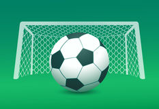 Illustration of soccer ball and goal post on field Royalty Free Stock Photo