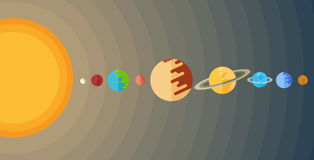Vector image of the solar system in a flat style Royalty Free Stock Image