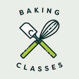 Vector image of spatula and egg beater with text baking classes royalty free illustration