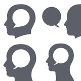 Vector image of speech bubble inside human head Stock Images