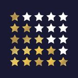 Vector image of 5 star rating. Gold stars vector icon. Vector. Icon on dark blue background vector illustration