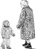 Grandmother and her grandson are on a walk. Vector image of the strolling woman with her grandson Stock Photography