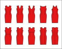 Vector image styles direct dresses with different necklines stock illustration
