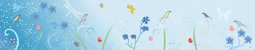 Vector image of stylized birds and flower Royalty Free Stock Photo