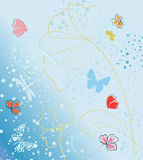 Vector image of stylized flowers and butterflies Royalty Free Stock Photo