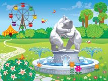 Landscaped garden with a fountain and sculptures little cubs. Vector image of a summer garden with a fountain and sculptures little bear cubs stock illustration