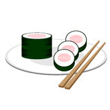 Vector image sushi. With fork Stock Images