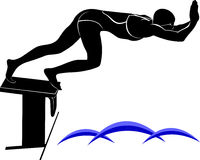 Vector image of a swimmer.It is drawn in the style of engraving. Stock Image