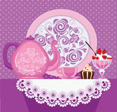 Vector image teas,cup, cake, jam on table. Vector illustration of teas,cup, cake, jam on table Royalty Free Stock Photography