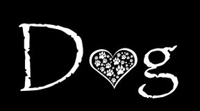 Vector image of text. Vector image of text with dog paws vector illustration