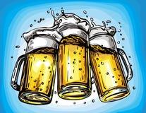 Vector image of three mugs of beer Royalty Free Stock Image