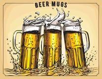 Vector image of three mugs of beer. Royalty Free Stock Photos