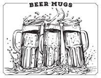 Vector image of three mugs of beer Stock Image