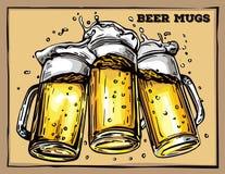 Vector image of three mugs of beer stock illustration