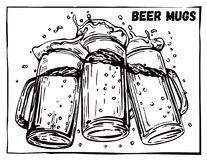 Vector image of three mugs of beer Royalty Free Stock Photography