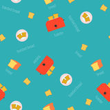 Vector image of toaster and slices of bread. Seamless pattern Royalty Free Stock Images