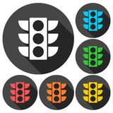 Traffic light icons set with long shadow Stock Images