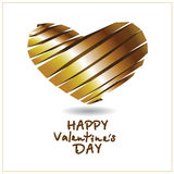 The vector image of a tree with hearts. The vector image of gold heart from a tape on a white background with an inscription for day of Valentine Royalty Free Stock Images