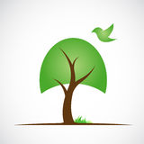 Vector image of trees and birds Stock Photography