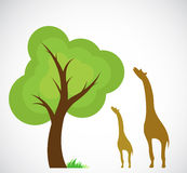 Vector image of trees and giraffes Royalty Free Stock Image