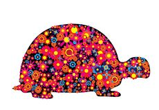 Turtle silhouette with colorful flowers and circles stock illustration