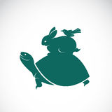 Vector image of an turtles, rabbits, birds. On white background Stock Photos