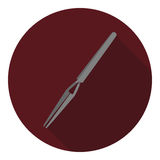 Vector image of tweezers. On a round background Royalty Free Stock Photo