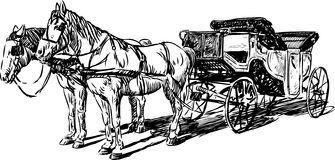 Carriage with horses. The vector image of two horses harnessed in the carriage royalty free illustration