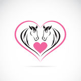 Vector image of two horses on a heart shape Royalty Free Stock Images