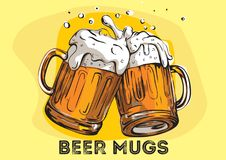 Vector image of two mugs of beer. Royalty Free Stock Photo