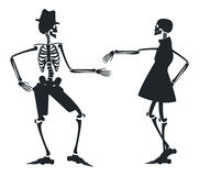 Vector image with two silhouette of skeleton Royalty Free Stock Images