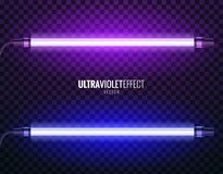 Vector of ultraviolet light. Vector image of ultraviolet lamps. Illustration of realistic light. Symbol of modern fashion. Set of different color shades Royalty Free Stock Photography