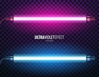 Vector of ultraviolet light. Vector image of ultraviolet lamps. Illustration of realistic light. Symbol of modern fashion. Set of different color shades Stock Photos