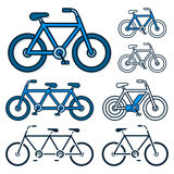 Vector image of various bicycles on white background Stock Photo