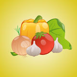 Vector image of vegetables together on a yellow background Royalty Free Stock Photos