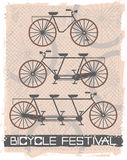 Vector image with vintage bicycles. Vintage bicycle on retro background Stock Image