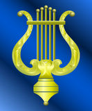 Vector image of vintage gold lyre. Vector image of vintage gold musical instrument lyre decorated with ornament Royalty Free Stock Images
