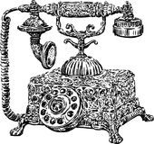 Ancient phone. Vector image of the vintage phone stock illustration
