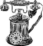 Antique phone. Vector image of a vintage phone stock illustration