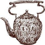 Antique teapot. Vector image of the vintage pot stock illustration