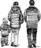 Walking family royalty free illustration